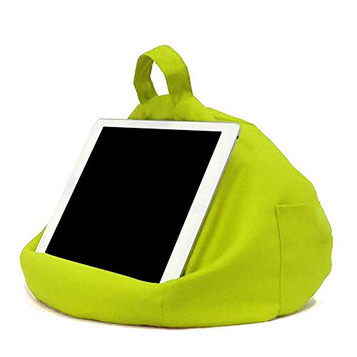Gorge-buy iPad Bean Bag Holder and Stand with Side Pocket - iPad Bed & Lap Stand Bean Bag Universal Tablet Holder for Cell Phone, eReader and GPS - Hands Free Comfort at Any Angle on Any Surface