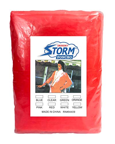 (1 Pack Red Emergency Storm Poncho. One Size fits All. Disposable Polyethylene Rain Ponchos with Hood. Waterproof Raincoats for Hiking, Park, Camping, Travelling. Lightweight, Compact, Portable.)