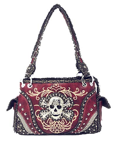 red skull rhinestone crossbones stitched studs purse