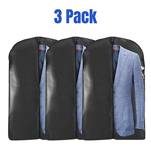 Houseables Hanging Clothing Travel Bag, Dress Sleeve Bags, 40, 3 Pack, Black, Garment, Suits, Jacket, Clothes Carrier, Cover, Protector, Clear Window, Breathable, Frameless, Costume Storage, Carry On