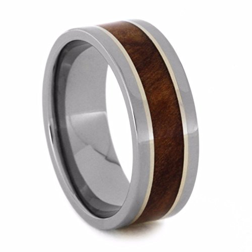 Redwood, 14k White Gold Pinstripe 8mm Comfort-Fit Titanium Wedding Band, Size 12 by The Men's Jewelry Store (Unisex Jewelry)