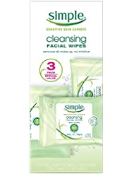 Simple Skincare Facial Cleansing Cleaning Wipes 25 ct (Pack of 3)