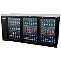 Migali C-BB72G 72 Glass Door Back Bar Refrigerator with 19.6 cu. ft. Capacity 6 Shelves Door Lock Stainless Steel Interior and Top LED Lighting in