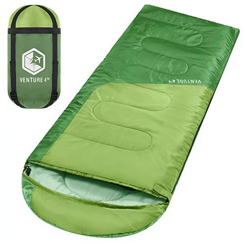 VENTURE 4TH Lightweight Sleeping Bag – Ultralight Camping Sleeping Bag for Adults, Girls and Boys | Green/Green