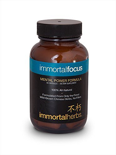Immortal Focus All Natural Focus Enhancing Formula Calms Your Mind and Body Brings Clarity with a Mental Boost - 60 Capsules Absolutely - No Fillers by Immortal Herbs by Immortal Herbs