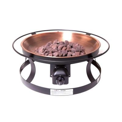 Fire Pit Del Rio Propane Gas Powered Features Four Extendable Roasting Sticks and Copper Bowl Finish, Great for Patio or ()
