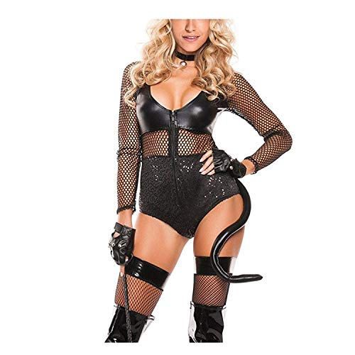 Puissant Sexy Women Halloween Black Midnight Cat Costume,(US10-14) L,Aspicture