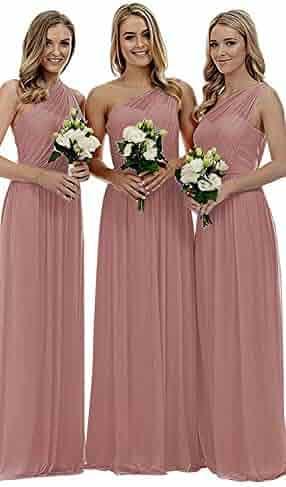bb1a6503818 Staypretty Bridesmaid Dresses for Women Long One Shoulder Asymmetric  Chiffon Prom Evening Gown