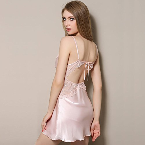 Silk notte Lady Camicia Sling Pigiama Summer Backless Sleepwear Sexy Pink da GSHGA pHqgwvSg