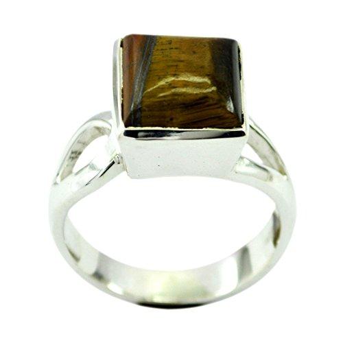 Genuine Tiger Eye Sterling Silver Ring For Women Cushion Cut Bezel Style Size (Cushion Cut Tigers Eye Ring)