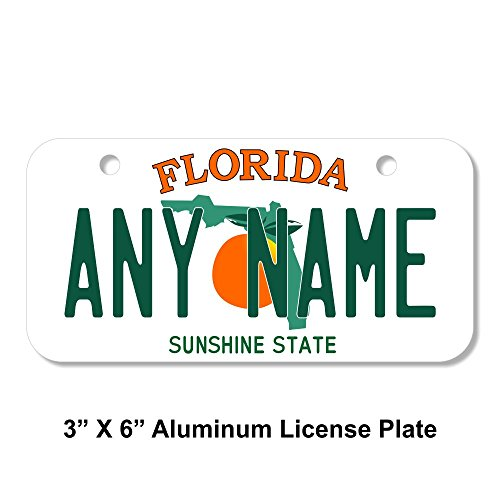 TEAMLOGO Personalized Florida License Plate - Sizes for Kid's Bikes, Cars, Trucks, Cart, Key Rings Version 1 (3 X 6 Aluminum License Plate)