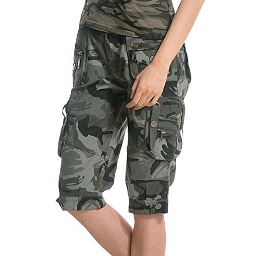 TANGDA Women Youth Cotton Blend Camouflage Camo Printed Short Pants Shorts XL