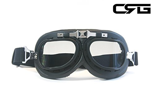 CRG Sports Vintage Aviator Pilot Style Motorcycle Cruiser Scooter Goggle T01 T01BTB-1 Smoke lens, black frame with silver nose bridge