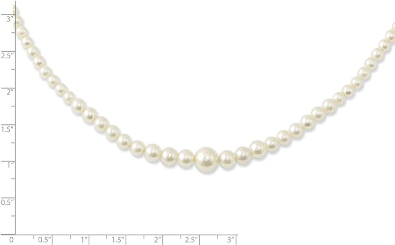 PriceRock Sterling Silver 5-6mm White Freshwater Cultured Pearl Necklace 16 Inches Long