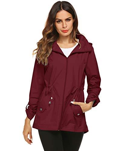 Lined Red Jacket - Rain Running Jacket Women Water Repellent Coat Wine Red Medium