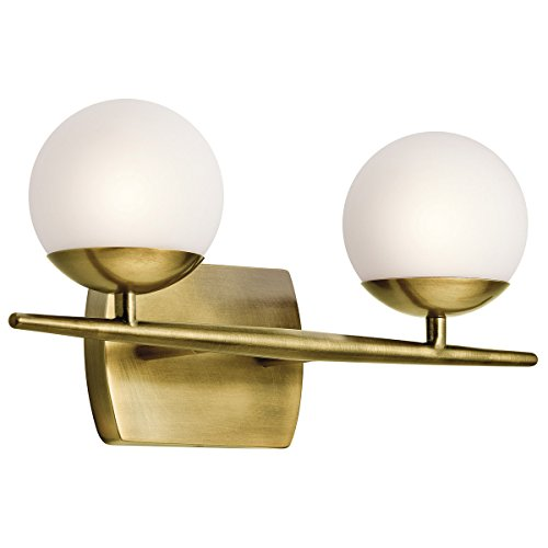 Bathroom Vanity 2 Light With Natural Brass Finish Steel Drum G9 17 inch 100 Watts