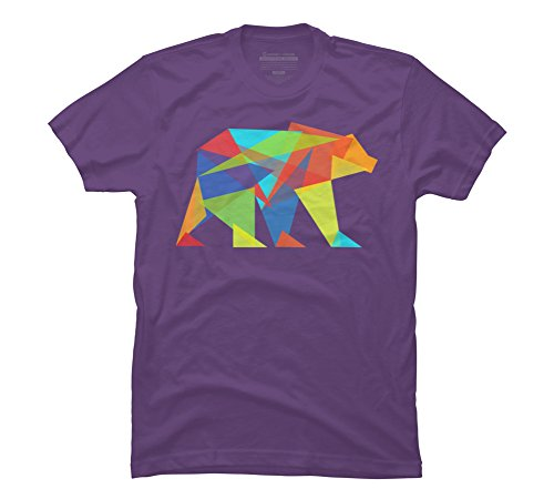 Design By Humans Fractal Geometric Bear Men's 2X-Large Purple Graphic T Shirt