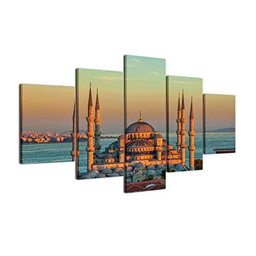 Gujiu Canvas Painting Picture Wall Art Home Decoration 5 Panel Sultan Ahmed Mosque for Living Room Modern Printing - Mosque Sultan Ahmed
