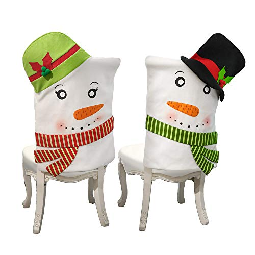 V&M VALERY MADELYN Set of 2 Joyful Snowman Christmas Chair Slipcovers, Chair Back Covers for Dinning or Kitchen Decorations for Christmas Festival