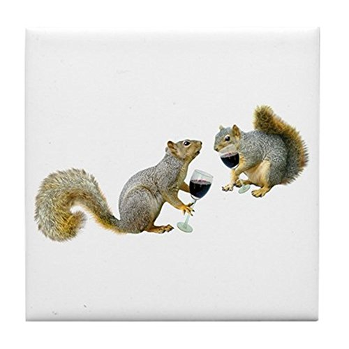 (CafePress - Squirrels Drinking Wine Tile Coaster - Tile Coaster, Drink Coaster, Small Trivet)