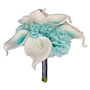 Lily Garden Artificial Wedding Flower Set Turquoise Picasso Calla Lily with Silk Carnation and Hydrangea (Bouquet 12WTT) 26