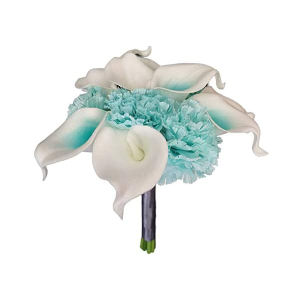 Lily Garden Artificial Wedding Flower Set Turquoise Picasso Calla Lily with Silk Carnation and Hydrangea (Bouquet 12WTT)