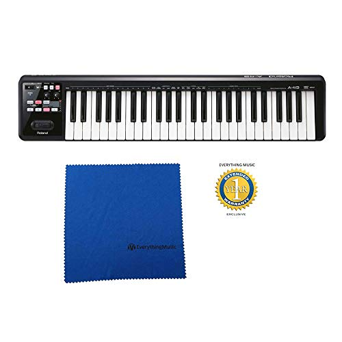 Roland A-49 49-key MIDI Keyboard Controller Black with Microfiber and Free EverythingMusic 1 Year Extended Warranty