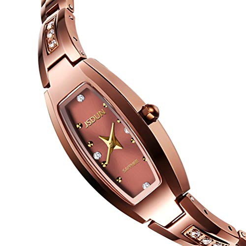 (JSDUN Women Lady Elegant Slim Bracelet Square Oval Faces Diamond Dress Waterproof Mechanical Automatic Wrist Watches, Silver/Rose Gold/Gold Tungsten Steel Tone)