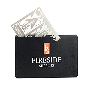 Fireside Supplies Survival Card with Bonus Black Leather Pouch - 22 Outdoor Tools in 1 Set - Durable Stainless Steel Multitool Gear - Emergency Kit Equipment for Hiking Hunting Fishing Camping by FS