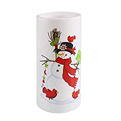 XEDUO Christmas Ornament LED Candle Light Flameless Projection lamp Flickering Xmas Decor Lamp (Snowman)
