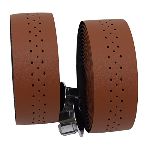 KINGOU Brown Synthetic Leather Road Bike Handlebar Tape Bicycle Bar Tapes - 2PCS Per - Tape Leather Bar