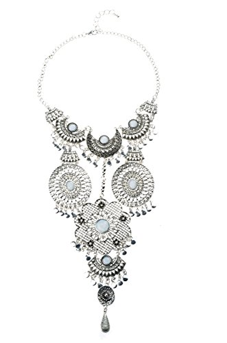 Green Giant Costume Uk (Veenajo Vogue Retro Style Silver Long Bohemian Turkish Statement Necklace for Women From Indian Jewelry(silver))