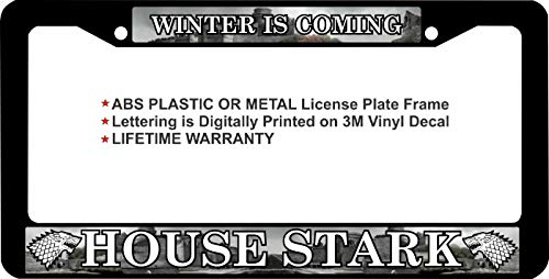 Game of Thrones Winter is Coming House Stark Custom Metal License Plate Frame (Metal Frame, Qty 1) (House Stark License Plate)