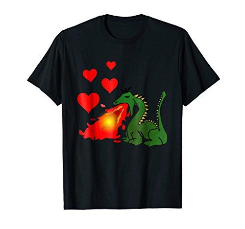 Dragon T-shirt Breathing Fire (Fire Breathing Dragon Making Love Hearts T-Shirt)