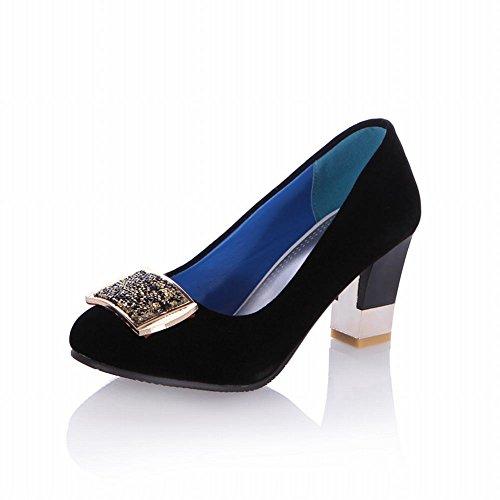 Carol Zapatos Charm Mujer Rhinestone Medallion Cuff Fashion High Heel Bombas Nupciales Zapatos Negro