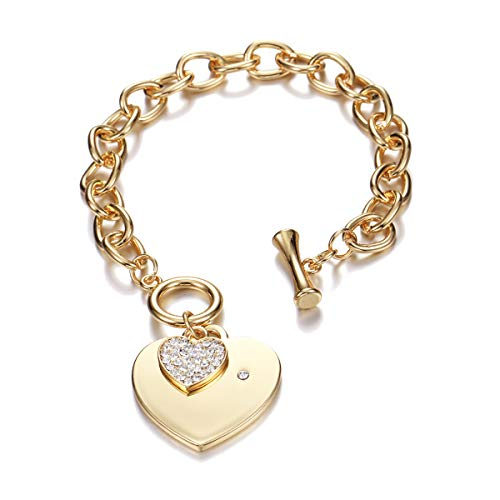 PJ Heart Crystal Charm Bracelet for Women Girls - High Polished Trendy Love Heart-Shaped Link Chain Charms Bracelets Jewelry, Toggle Clasp