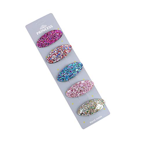 Kids Girls Bling Bling Hairpin No Slip Wrapped Snap Hair Clips Hair Barrettes Accessories (E)