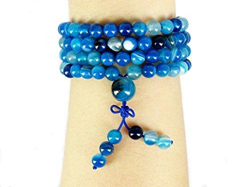 jennysun2010 Handmade Multi-Purpose Natural 6mm Blue Stripe Agate Gemstone Buddhist 108 Beads Prayer Mala Stretchy Bracelet Necklace Healing 26