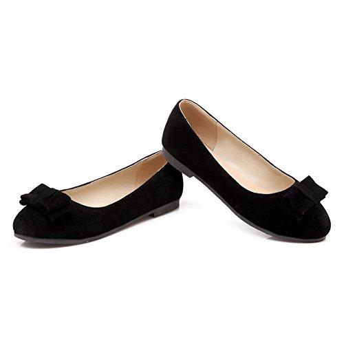 BalaMasa Ladies Bows Leopard Pattern Pull-On Urethane Loafer-Flats Black tWG7J0E0