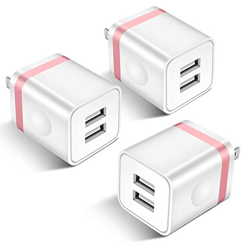 (STELECH USB Wall Charger, 3-Pack 2.1A Dual Port USB Power Plug Travel Adapter Charging Block Brick Compatible with Phone Xs Max/Xs/XR/X/8/7/6 Plus, Samsung, LG, Moto, Tablets, Android Phone)