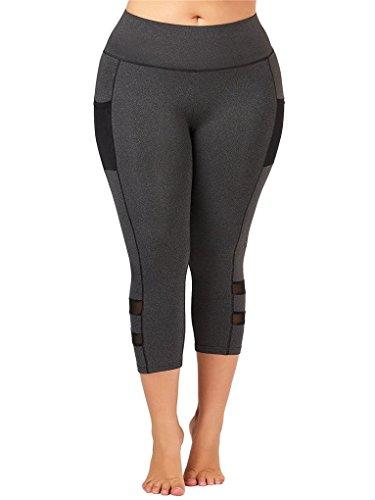 Fenxxxl Power Flex Yoga Capris Pants Tummy Control Workout Running 4 Way Stretch Crop Leggings F67 Grey 2XL by Fendxxxl (Image #3)