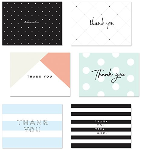 54 Thank You Flat Note Cards, Modern Chic II, Polka Dot and Striped Assorted Blank Back Thank You Notes, All Occasion No Fold Flat Postcard Thank You Greeting Cards and Envelopes, 4.25 x 5.5 Inches by Luxye