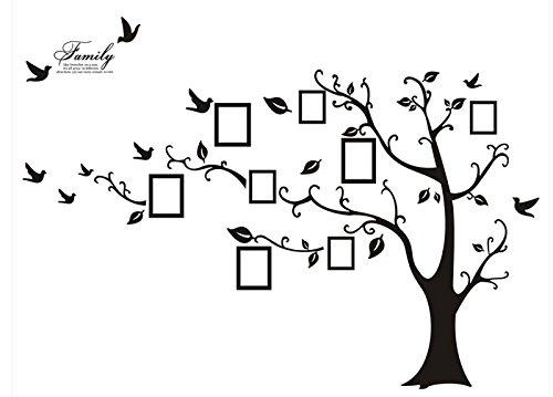 Rainbow Fox Regenbogen Fox PVC Riesig Schwarz Bilderrahmen Speicher Baum Vine Zweig Abnehmbare Schöne große schwarze Bilderrahmen , die auf der Baum Zweige und Soaring Vogel-Kunst-Wand-Aufkleber und Familie-Beschriftung Abziehbilder für Wohnzimmer, Schlafzimmer für Kinder (Schwarz) (Black-Left)