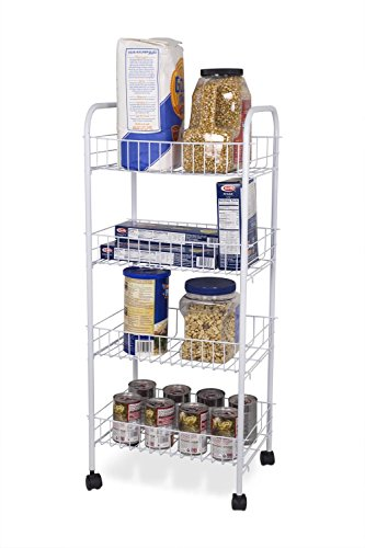 Home Basics FB41258 4 Tier Kitchen Trolley, White by Home Basics