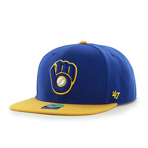 MLB Milwaukee Brewers Sure Shot Two Tone Captain Wool Adjustable Hat, One Size, Royal