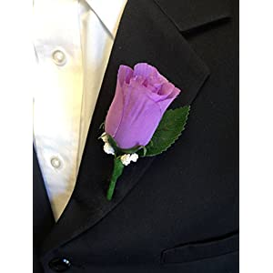 Angel Isabella Boutonniere - Lilac Lavender Rosebud with Pin for Prom, Party, Wedding 43