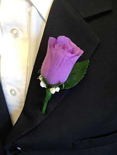Angel Isabella Boutonniere - Lilac Lavender Rosebud with Pin for Prom, Party, Wedding