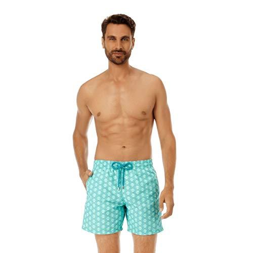 (Vilebrequin Men's Ancre De Chine Shorts, Menthe, Green, Print, Large )