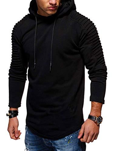 CYFLYMDER Mlxgoie Men's Long Sleeve Pullover Warm Fleece Cotton Sports Hoodie Hooded Sweatshirt (Black, X-Large) -