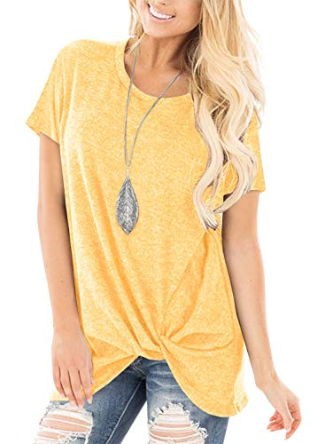 onlypuff Yellow Short Sleeve T Shirt for Women Knot Twist Tops Casual Solid Color Blouse XXL